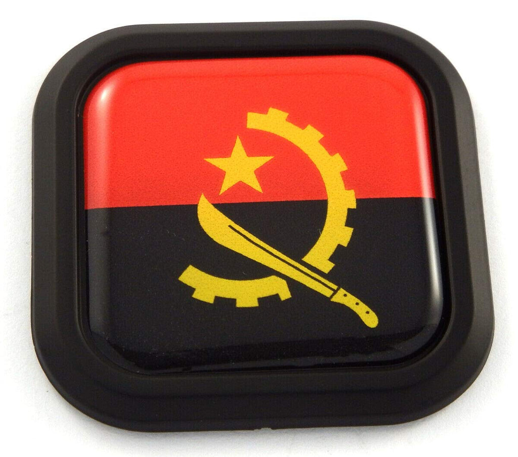 Angola Flag Square Black rim Emblem Car 3D Decal Badge Hood Bumper sticker 2""