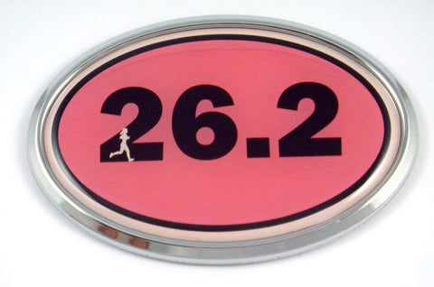 26.2 Marathon Runner Emblem Chrome car Decal Pink auto Dome Sticker Woman Sport
