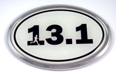 13.1 Half Marathon Runner Emblem Chrome Decal with Dome Sticker Medallion Sport