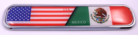 USA/Mexico Flag Chrome Emblem 3D auto Decal Sticker car Bike Boat 5.3""