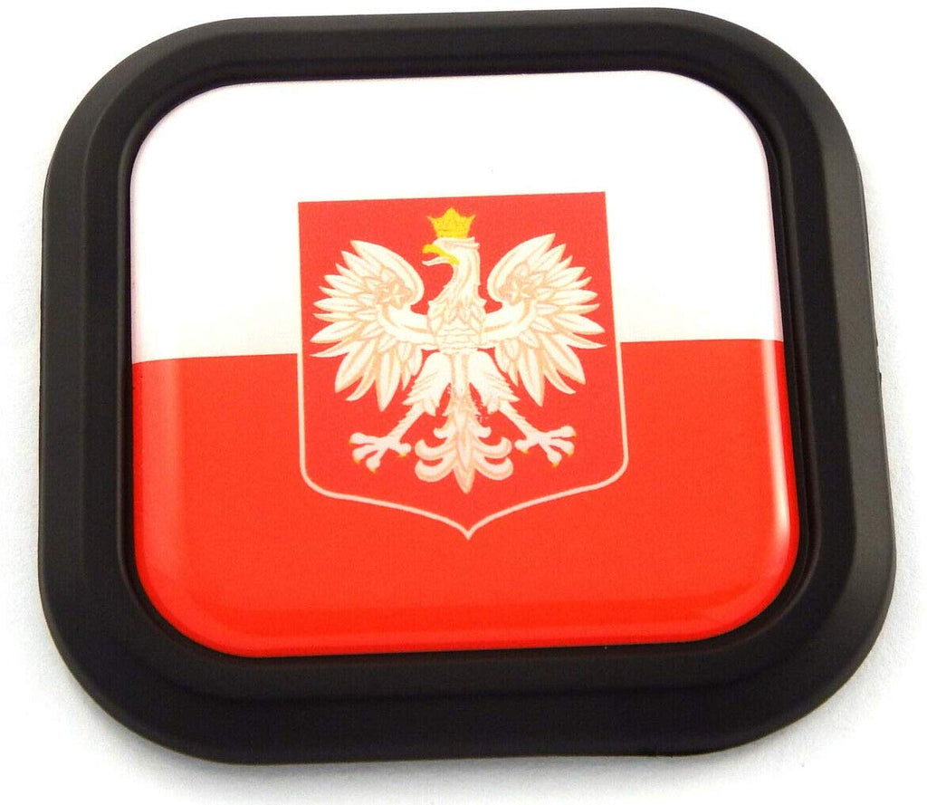 Poland Flag Square Black rim Emblem Car 3D Decal Badge Hood Bumper sticker 2""