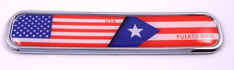 USA/Puerto Rico Flag Chrome Emblem 3D auto Decal Sticker car Bike Boat 5.3""
