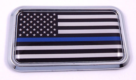 "USA Thin Blue Line Police rectanguglar Chrome Emblem Car Decal Sticker 3""x1.75"""