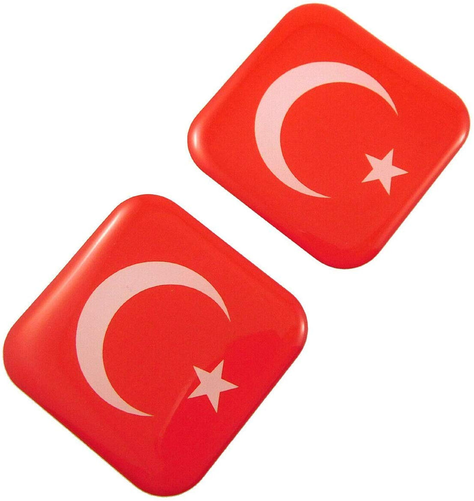 "Turkey Turkish Flag Square Domed Decal car Bike Gel Stickers 1.5"" 2pc"