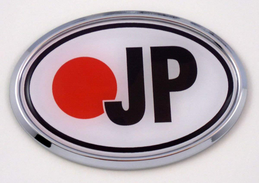 Japan JP Flag Car Chrome Emblem Bumper Sticker Flag Decal Oval