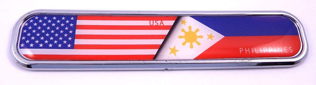 USA/Philippines Flag Chrome Emblem 3D auto Decal Sticker car Bike Boat 5.3""