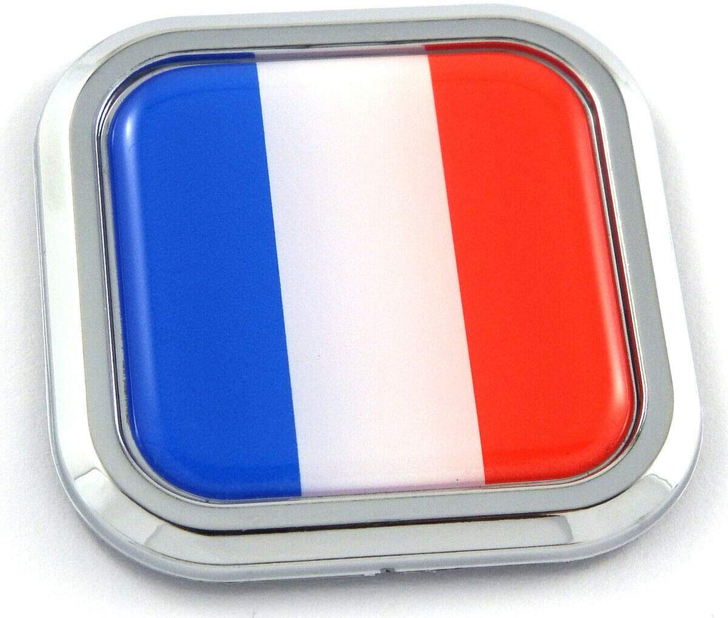 France Flag Square Chrome rim Emblem Car 3D Decal Badge Hood Bumper sticker 2""
