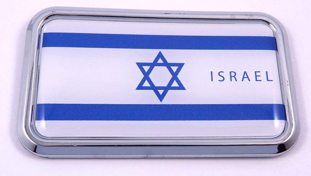 "Israel Israeli Flag rectanguglar Chrome Emblem 3D Car Decal Sticker 3"" x 1.75"""