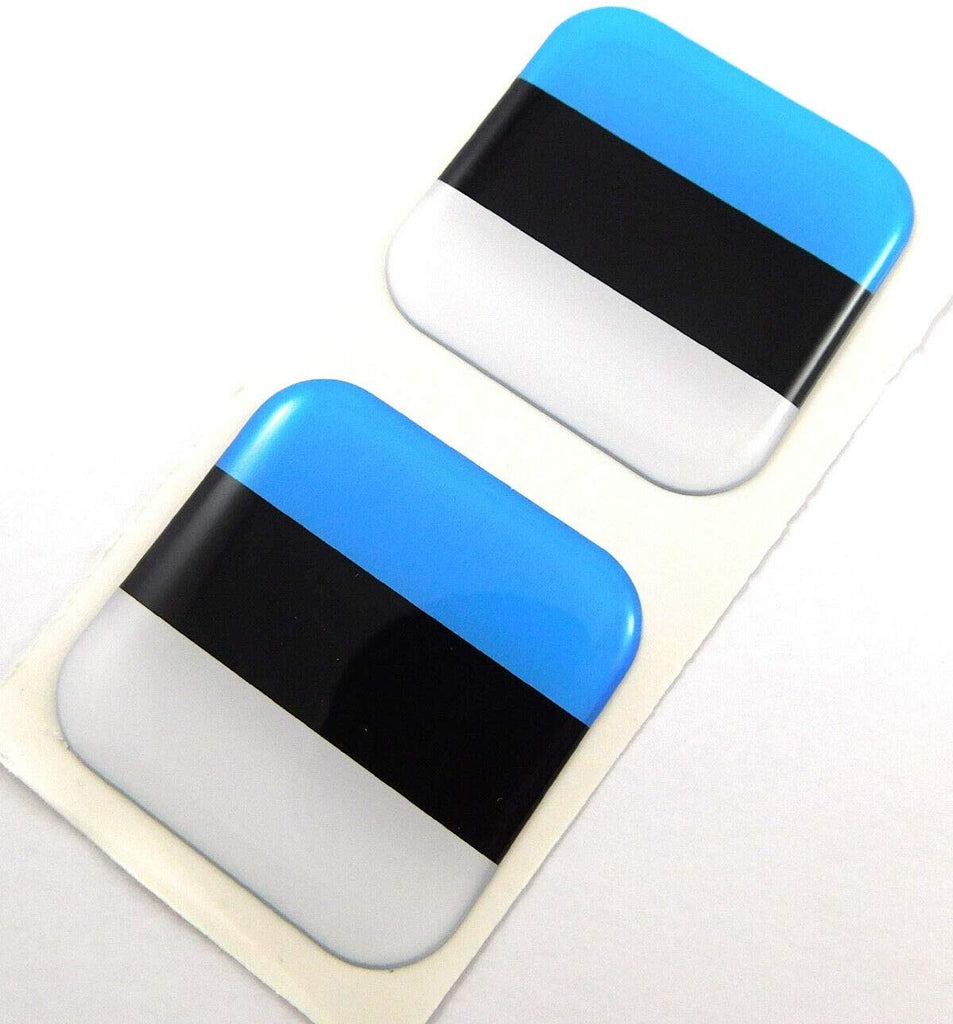 "Estonia Flag Square Domed Decal car Bike Gel Stickers 1.5"" 2pc"