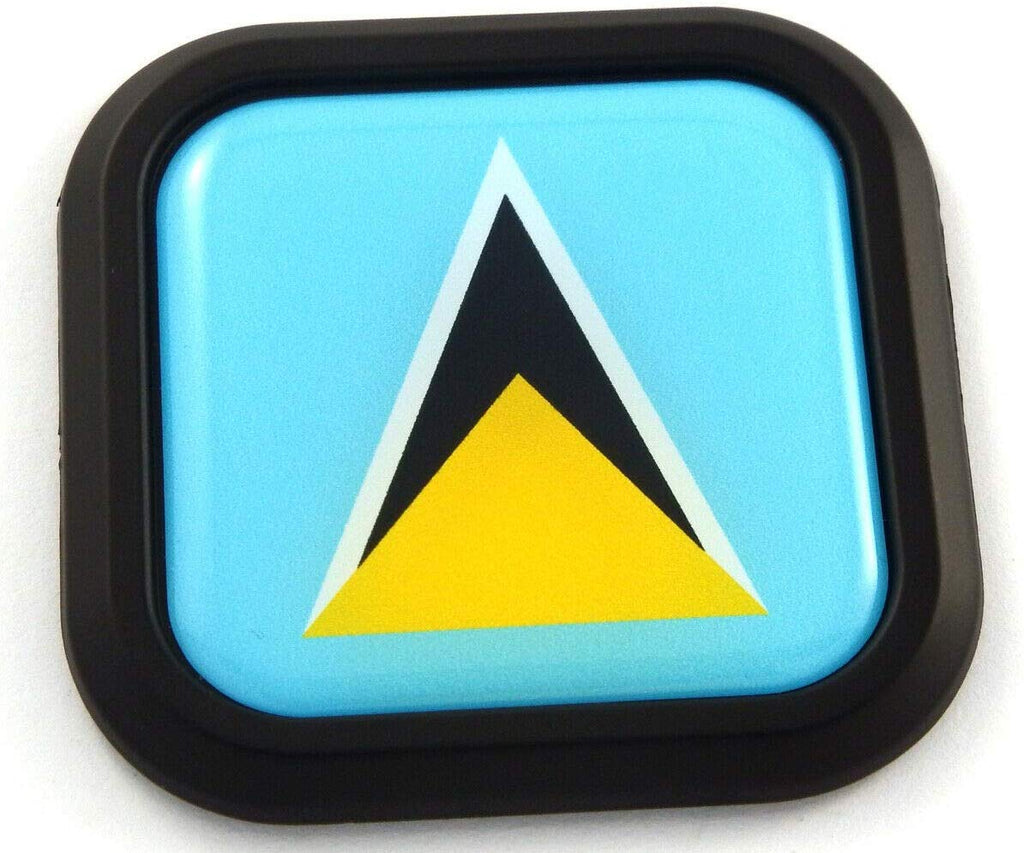 Saint Lucia Flag Square Black rim Emblem Car 3D Decal Badge Bumper sticker 2""