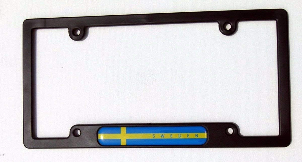Sweden Swedish Flames Flag Black Plastic Car License Plate Frame Dome Decal