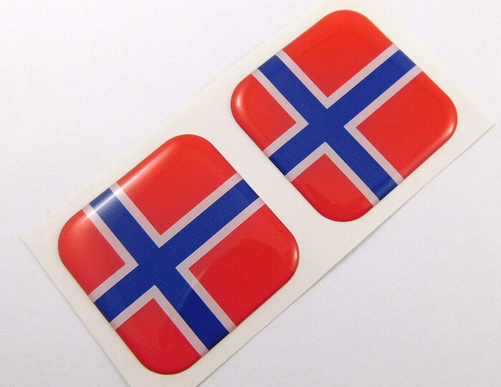 "Norway Norwegian Flag Square Domed Decal car Bike Gel Stickers 1.5"" 2pc"