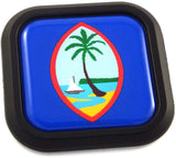 Guam Flag Square Black rim Emblem Car 3D Decal Badge Hood Bumper sticker 2""