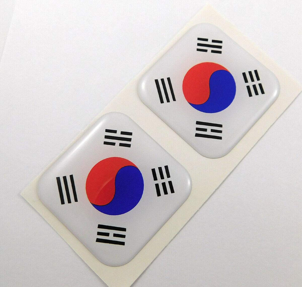 "South Korea Flag Square Domed Decal car Bike Gel Stickers 1.5"" 2pc"