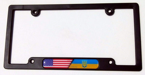 USA/Ukraine Flames Flag Black Plastic Car License Plate Frame Domed Decal