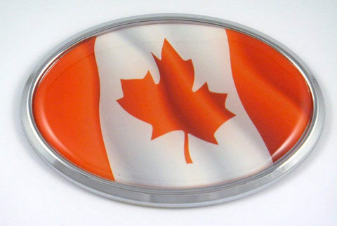 Canada Oval Decal Waving Flag Car Chrome Auto Emblem Bumper Sticker