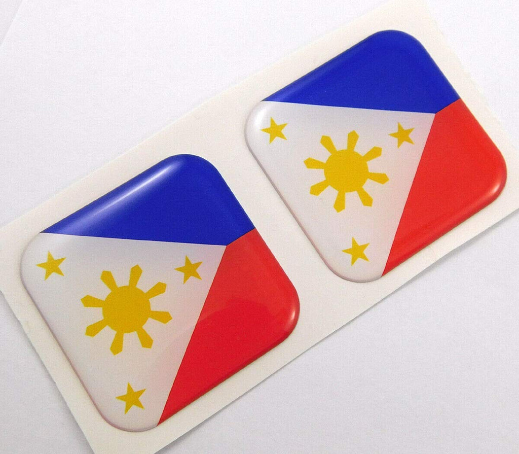 "Philippines Philippine Flag Square Domed Decal car Bike Gel Stickers 1.5"" 2pc"