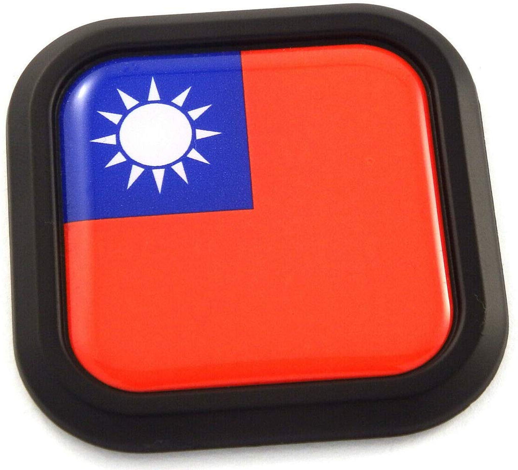 Taiwan Flag Square Black rim Emblem Car 3D Decal Badge Hood Bumper sticker 2""