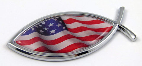 Jesus Fish USA Flag American Car bike Auto Chrome Emblem