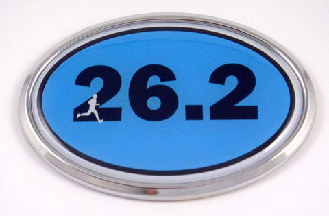 26.2 Marathon Runner Emblem Chrome car Decal Blue auto Dome Sticker Man Men Sport