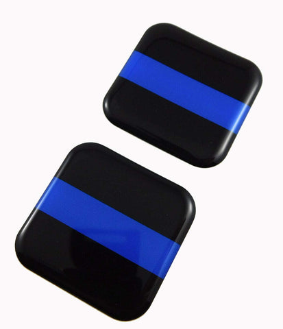 "Police Thin Blue line Flag Square Domed Decal car Bike Gel Stickers 1.5"" 2pc"
