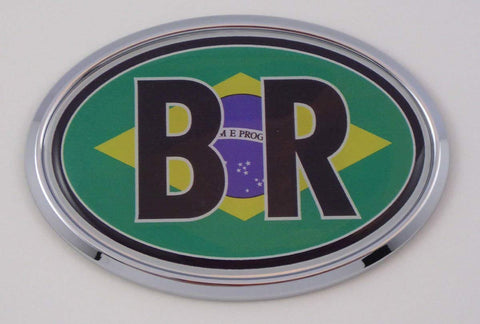 Brazil BR Car Chrome Emblem Bumper Sticker Flag Decal Oval