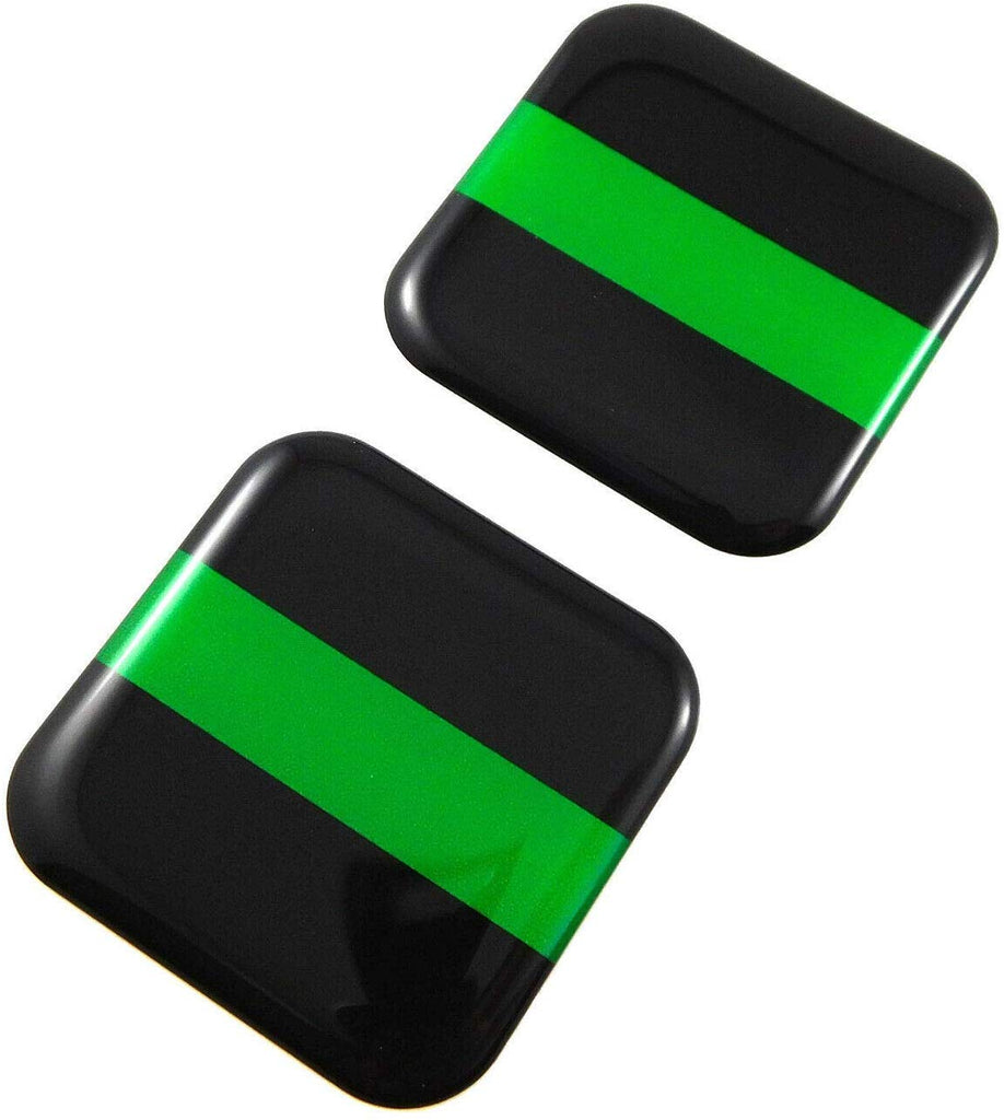 "Green line Park Ranger Flag Square Domed Decal car Bike Gel Stickers 1.5"" 2pc"