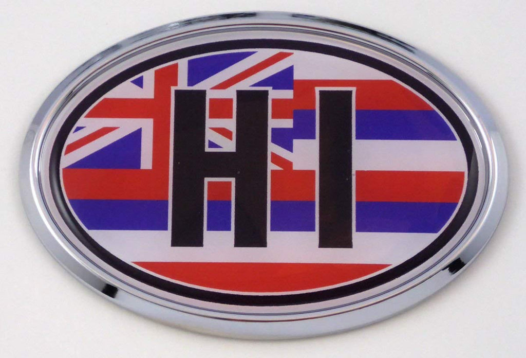 Hawaii HI Flag Car Chrome Emblem Bumper Sticker Flag Decal Oval