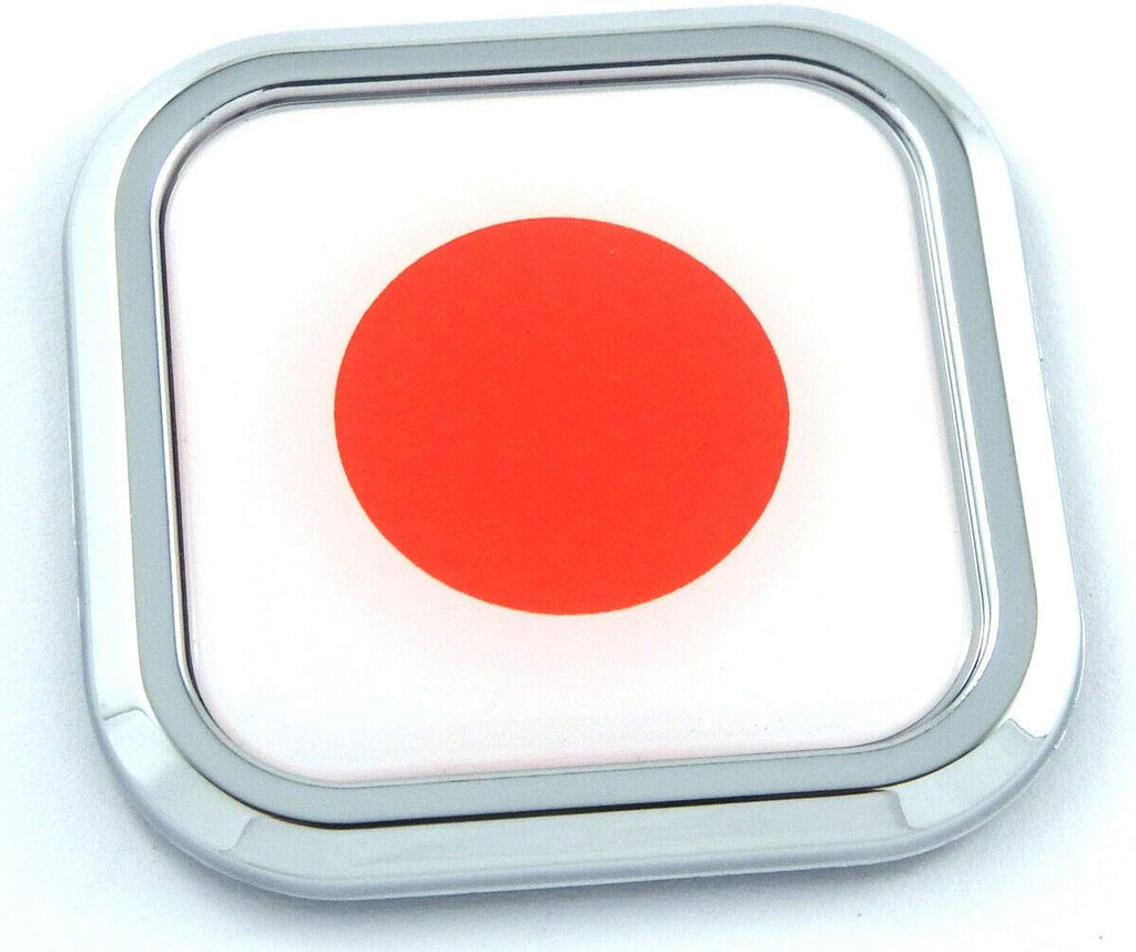 Japan Flag Square Chrome rim Emblem Car 3D Decal Badge Hood Bumper sticker 2""