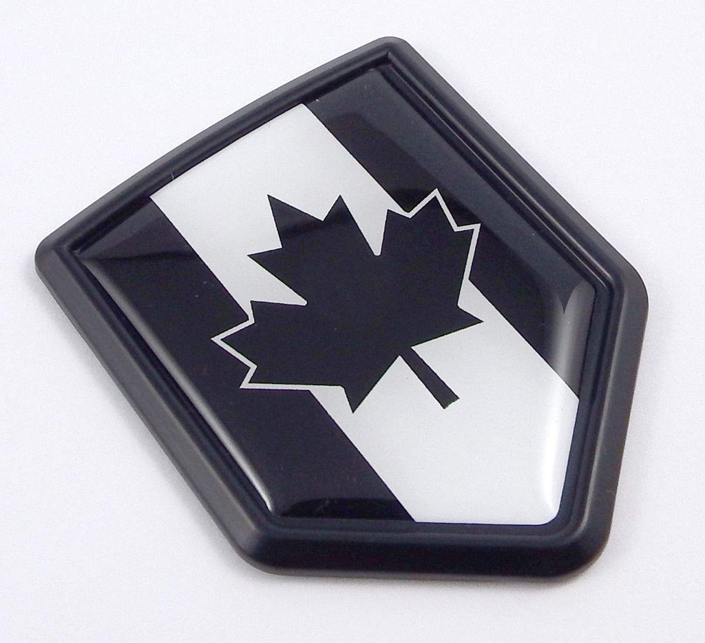 Canada Black Flag Black Shield Car Bike Decal Crest Emblem 3D Sticker