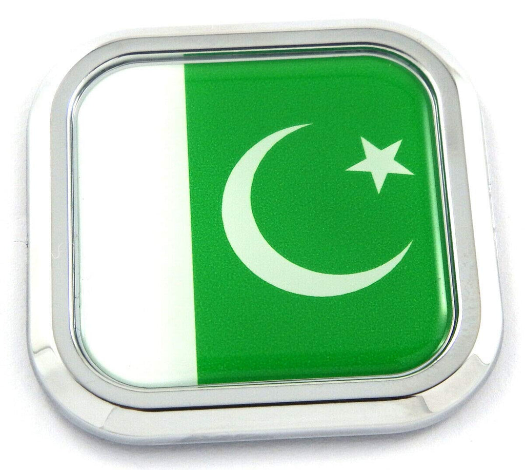 Pakistan Flag Square Chrome rim Emblem Car 3D Decal Badge Hood Bumper sticker 2""