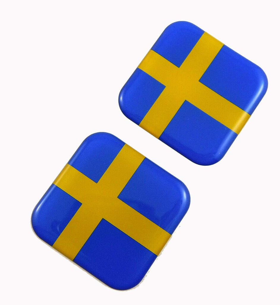 "Sweden Swedish Flag Square Domed Decal car Bike Gel Stickers 1.5"" 2pc"