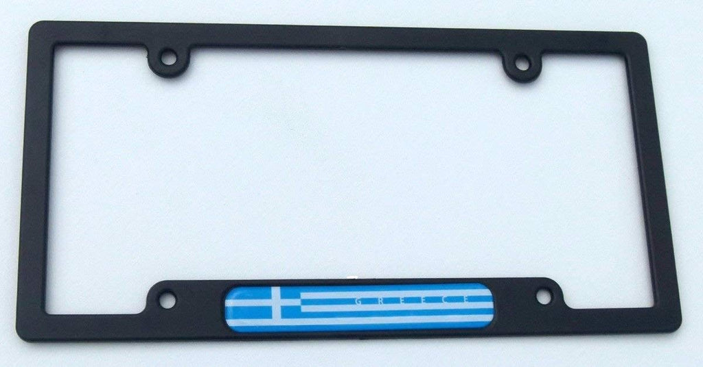 Greece Greek Flag Black Plastic Car License Plate Frame Domed Decal Insert