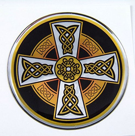 Celtic Cross D1 Emblem domed decal on chrome milar Bike Motorcycle Car 62mm