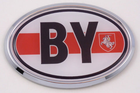 Belarus by Belorussian Car Chrome Emblem Bumper Sticker Flag Decal Oval