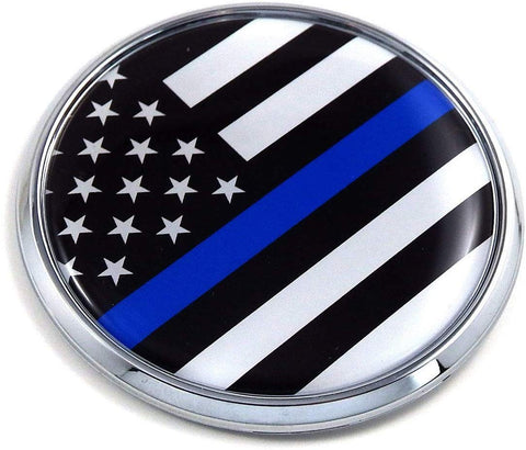 "USA Police Thin Blue line Flag 2.75"" Car Chrome Round Emblem Decal 3D Badge"