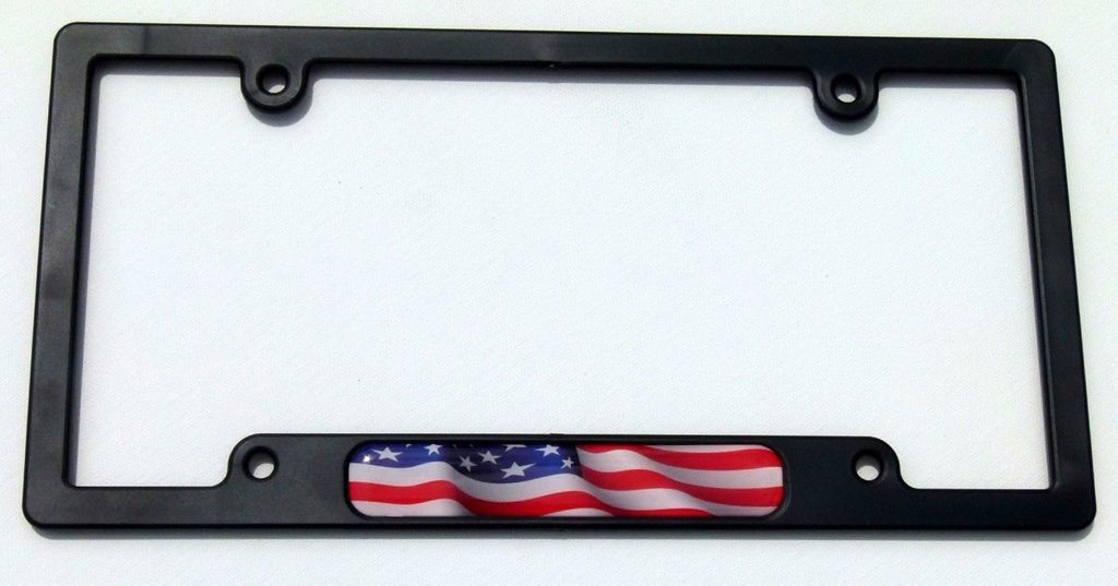 USA American Flag Black Plastic Car License Plate Frame Domed Decal