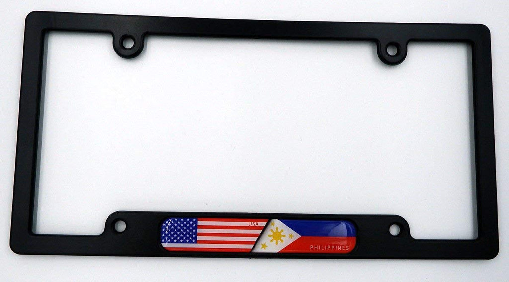 USA/Philippines Black Plastic Car License Plate Frame w Domed Decal insertflag