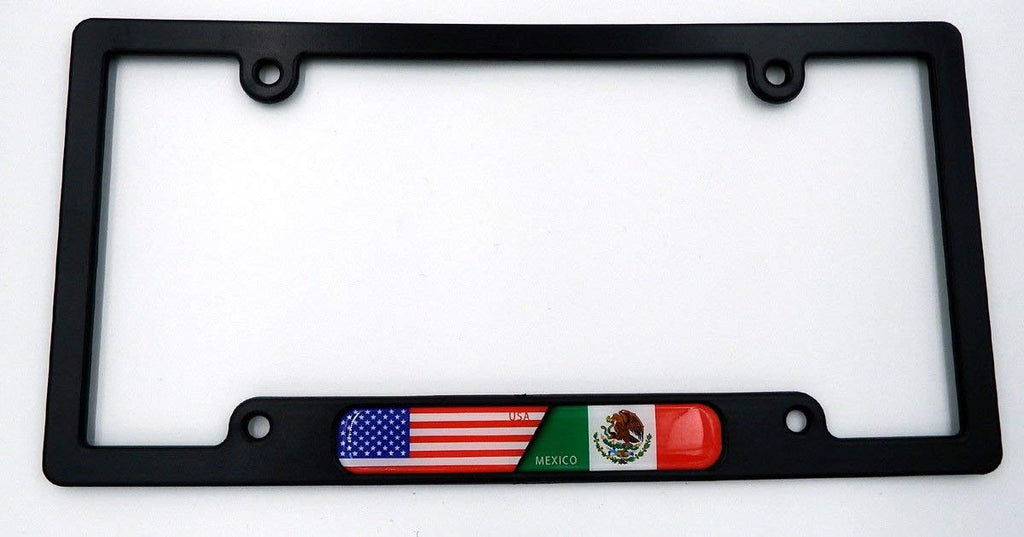 USA/Mexico Black Plastic Car License Plate Frame w/Domed Decal Insert Flag