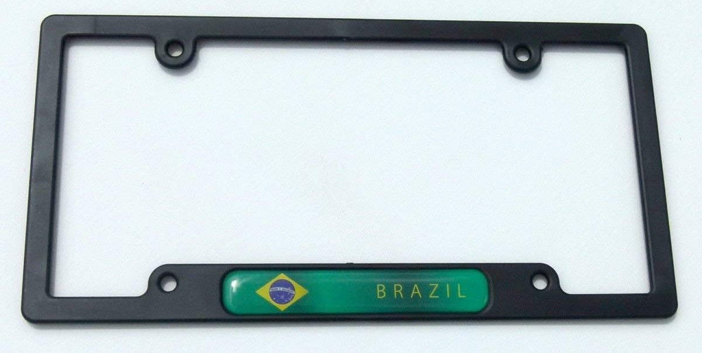 Brazil Flag Black Plastic Car License Plate Frame Domed Colour Lens Brazilian