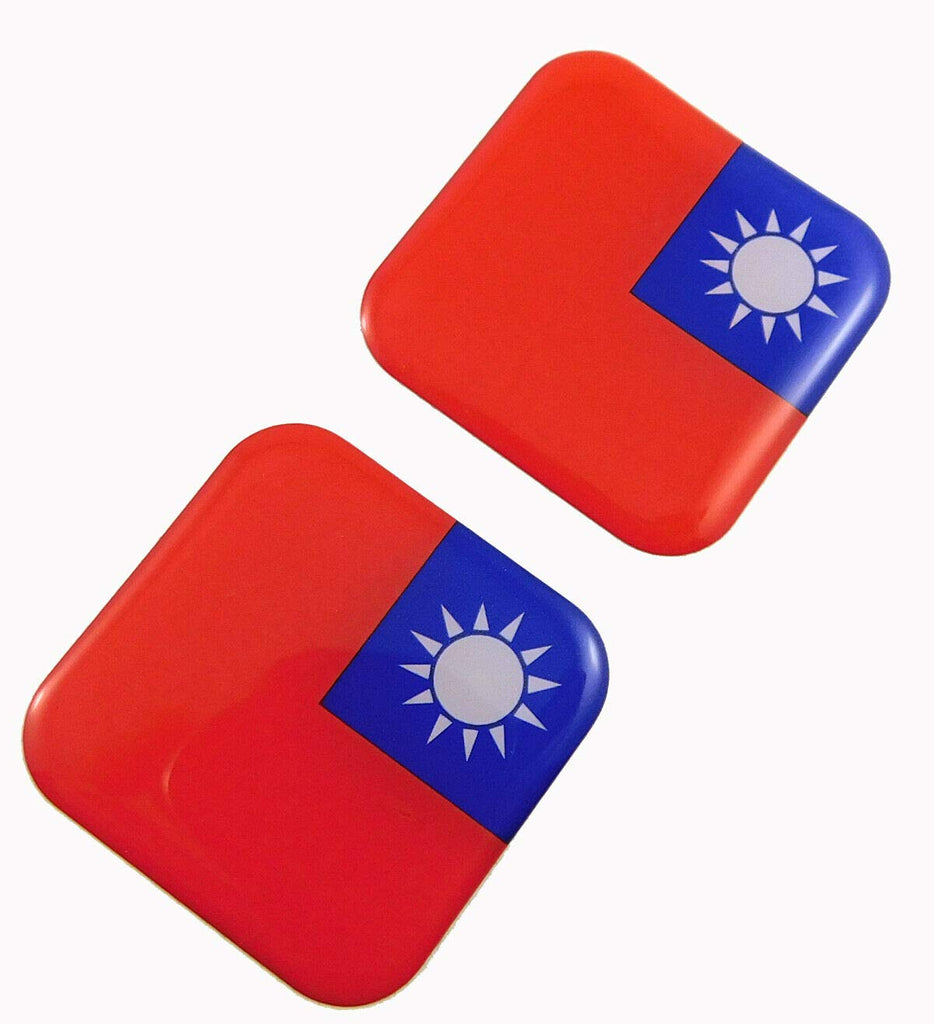 "Taiwan Flag Square Domed Decal car Bike Gel Stickers 1.5"" 2pc"