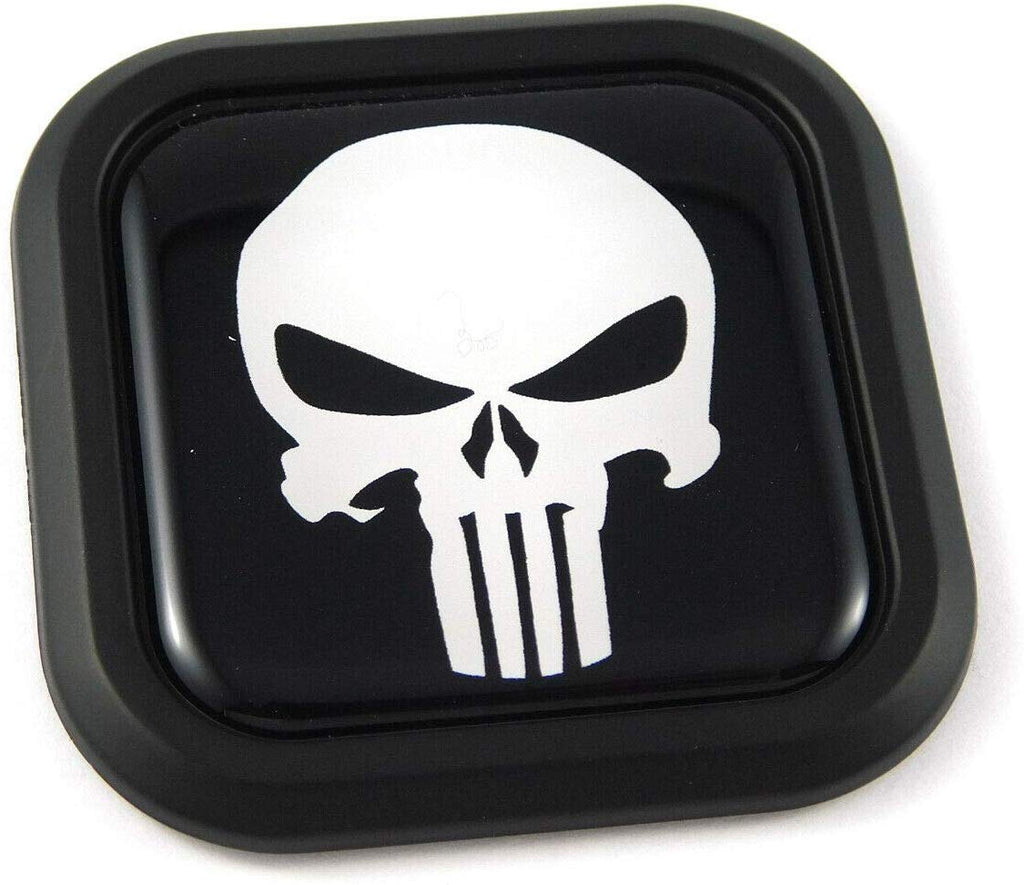 Punisher Skull Square Black rim Emblem Car 3D Decal Badge Bumper 2""