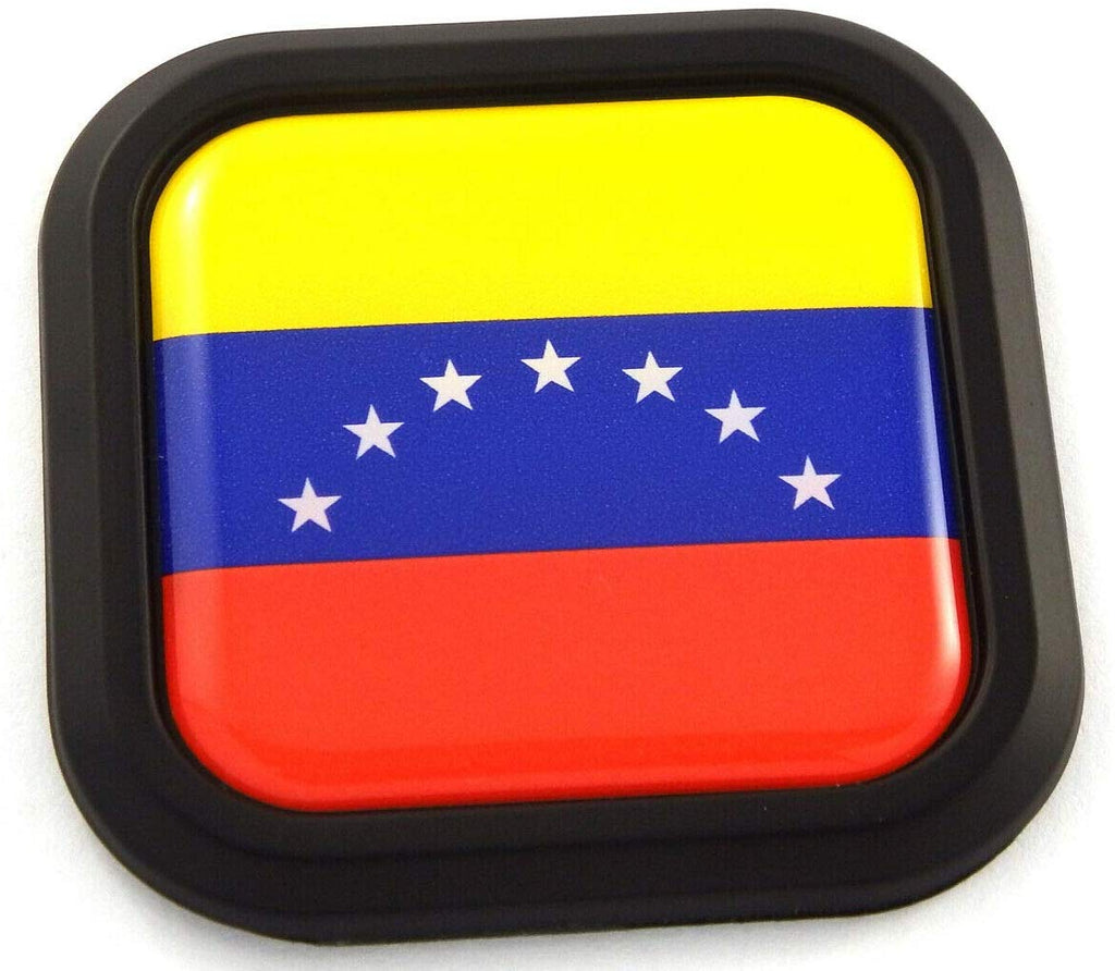 Venezuela Flag Square Black Emblem rim Car 3D Decal Badge Bumper sticker 2""