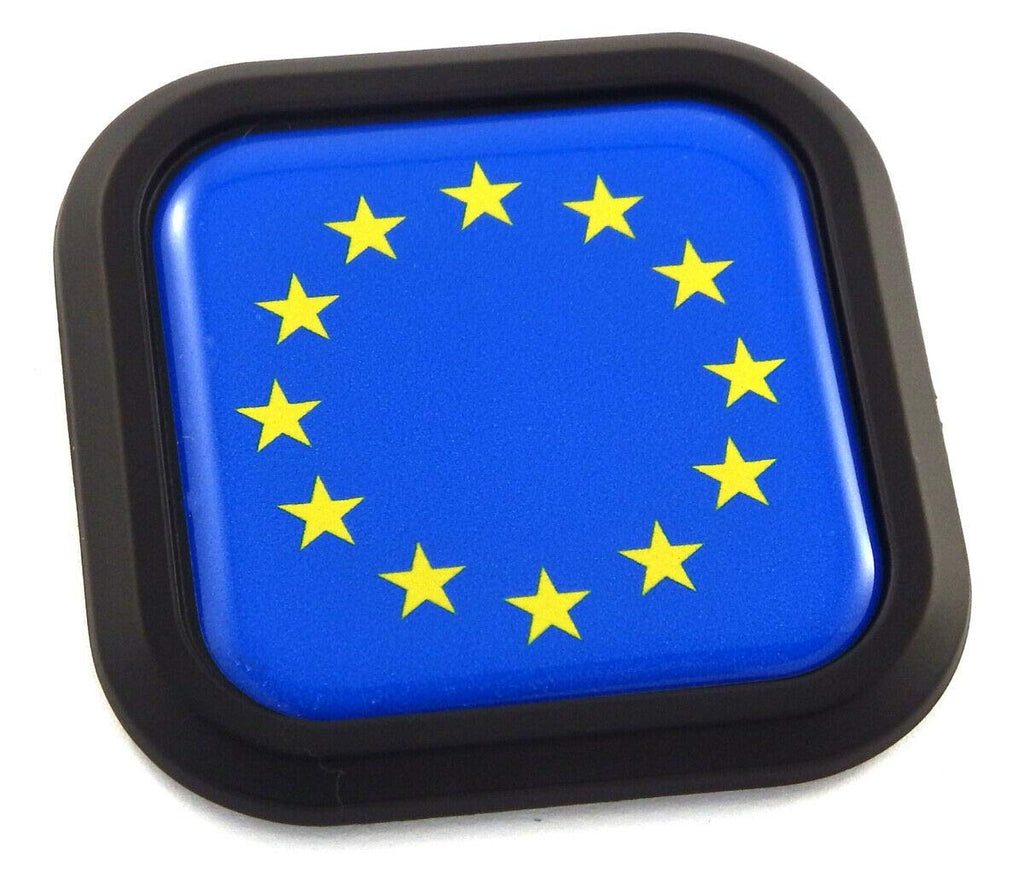 European Union Flag Square Black rim Emblem Car 3D Decal Badge Bumper sticker 2""