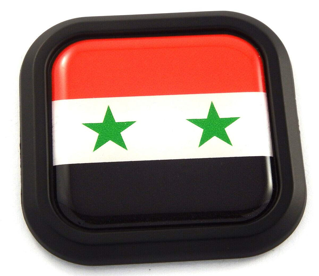 Syria Flag Square Black rim Emblem Car 3D Decal Badge Hood Bumper sticker 2""