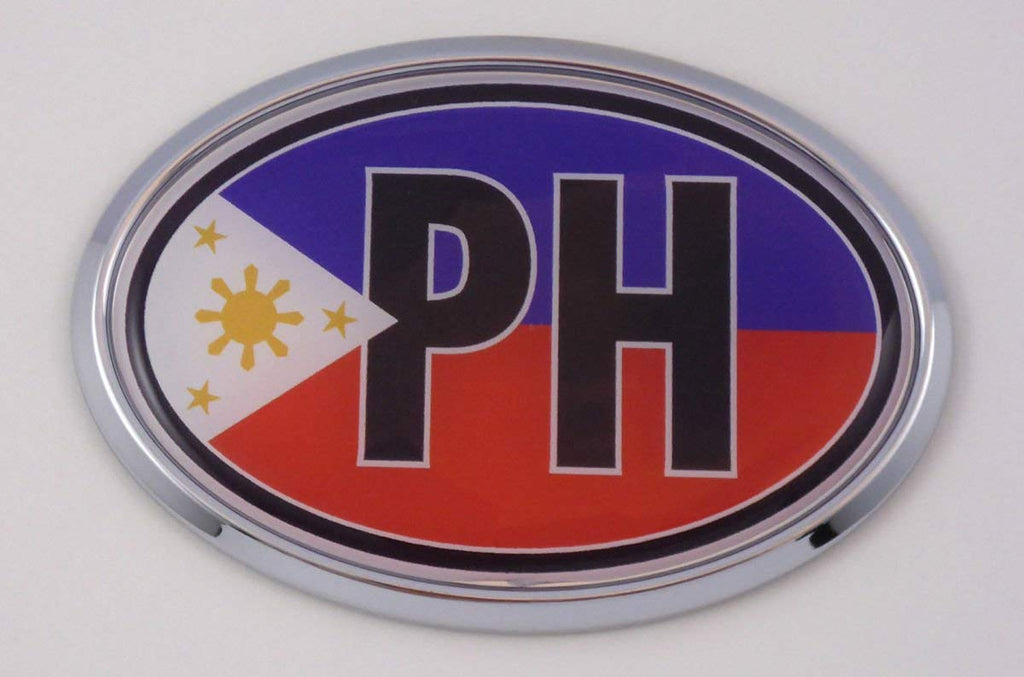 Philippine PH Car Chrome Emblem Bumper Sticker Flag Decal Oval Philippines