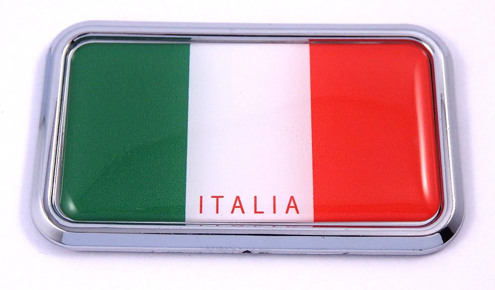 "Italia Italy Flag rectanguglar Chrome Emblem 3D Car Decal Sticker 3"" x 1.75"""