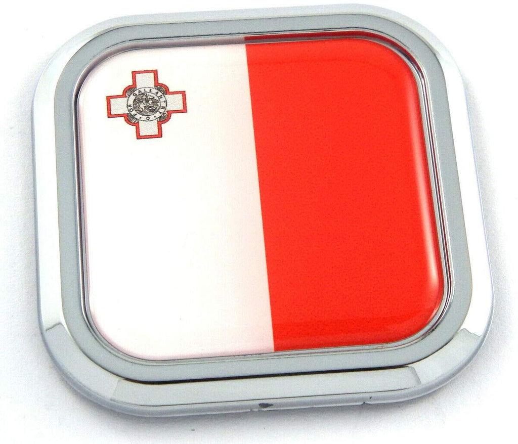 Malta Flag Square Chrome rim Emblem Car 3D Decal Badge Hood Bumper sticker 2""