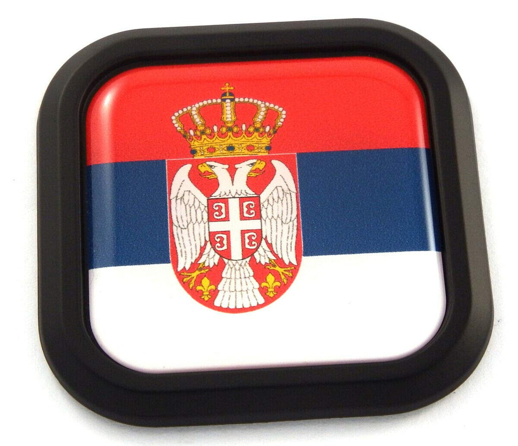 Serbia Flag Square Black rim Emblem Car 3D Decal Badge Hood Bumper sticker 2""