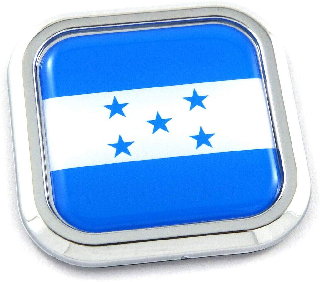 Honduras Flag Square Chrome rim Emblem Car 3D Decal Badge Hood Bumper sticker 2""